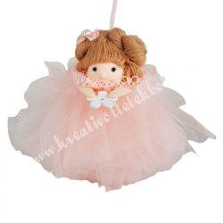 Akasztós tüll ruhás kislány, rózsaszín, 13x12 cm