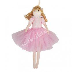 Akasztós tüll ruhás kislány, rózsaszín, 13x24 cm