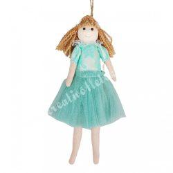 Akasztós tüll ruhás kislány, zöld, 13x24 cm