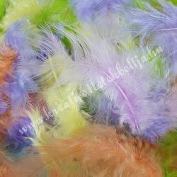 Madártoll keverék vegyes színek, 3-10 cm, 10 gr/csomag