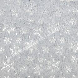 Hópehely mintás műszőrme, szürke, 27 cm