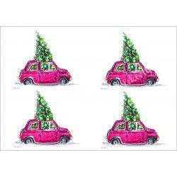 Rizspapír Autó karácsonyfával, 4, A4