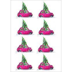 Rizspapír Autó karácsonyfával, 8, A4