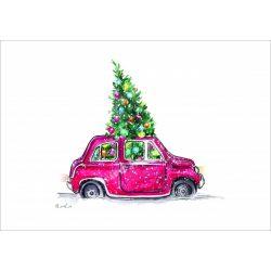 Rizspapír Autó karácsonyfával, A3