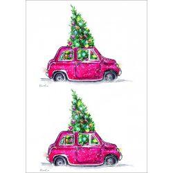 Rizspapír Autó karácsonyfával, A4