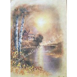 Rizspapír, őszi ház, tóval