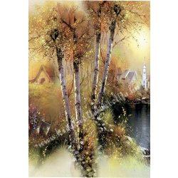 Rizspapír, őszi táj fával