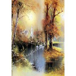Rizspapír, őszi táj tóval