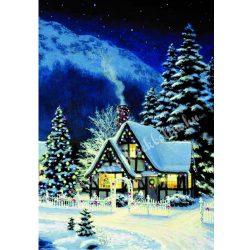 Rizspapír Téli falu karácsonyfával, A4