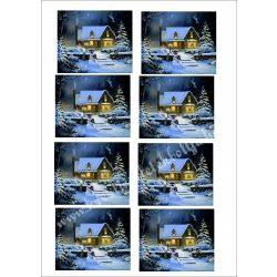 Rizspapír téli házikó, 8, A4