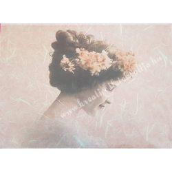 Rizspapír, vintage, hölgy virágokkal