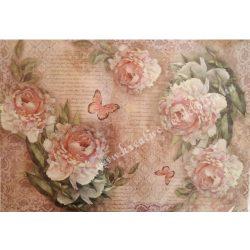 Rizspapír, vintage rózsa