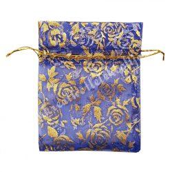 Rózsamintás organzatasak, kék, arany, 10x12 cm