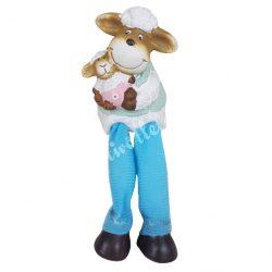 Lógó lábú bárány, kék nadrágban, 7x16 cm