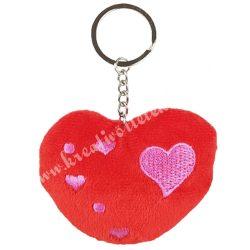 Kulcstartó, szív, piros, 8x12 cm