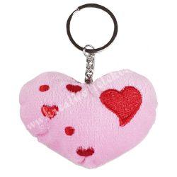 Kulcstartó, szív, rózsaszín, 8x12 cm