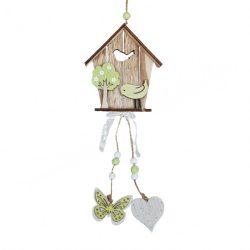 Akasztós dísz, fa madárházikó, zöld madárral, 12x30 cm