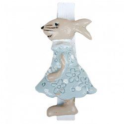 Facsipeszes nyúl, country kék ruhában, 2,5x4,5 cm