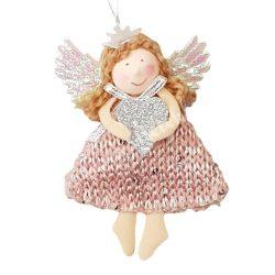Akasztós dísz, textil angyal, ezüst szívvel, 7,5x10,5 cm