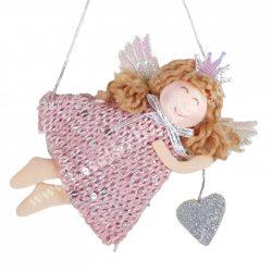 Akasztós dísz, textil angyal, fekvő,  ezüst szívvel, 11x10,5 cm