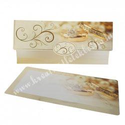 Pénzátadó boríték, ajándékkísérő kártyával, vanilia, 18x8,5 cm
