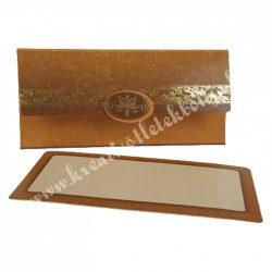 Pénzátadó boríték, ajándékkísérő kártyával, barna, 18x9 cm
