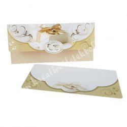 Pénzátadó boríték, ajándékkísérő kártyával, bézs, 18x8,5 cm
