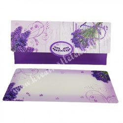 Pénzátadó boríték, ajándékkísérő kártyával, levendulák, lila, 18x8,5 cm