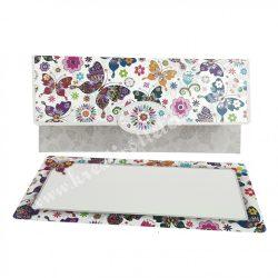 Pénzátadó boríték, ajándékkísérő kártyával, pillangók, szürke, 18x8,5 cm