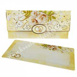 Pénzátadó boríték, ajándékkísérő kártyával, sárga, 18x8,5 cm