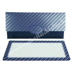 Pénzátadó boríték, ajándékkísérő kártyával, csíkos, kék, 18x8,5 cm