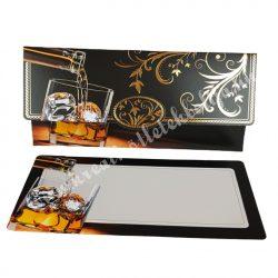 Pénzátadó boríték, ajándékkísérő kártyával, whisky poharas, barna, 18x8,5 cm