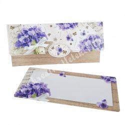 Pénzátadó boríték, ajándékkísérő kártyával, virágos, lila-natúr, 18x8,5 cm