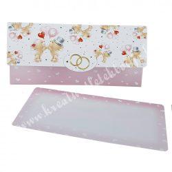 Pénzátadó esküvői boríték, ajándékkísérő kártyával, 18x8,5 cm