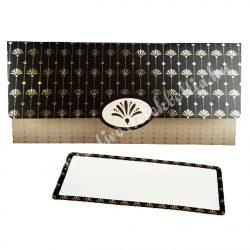Pénzátadó boríték, ajándékkísérő kártyával, drapp-fekete, 21,5x10 cm