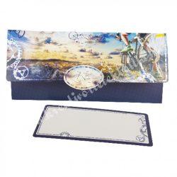 Pénzátadó boríték, ajándékkísérő kártyával, biciklis, kék, 21,5x10 cm