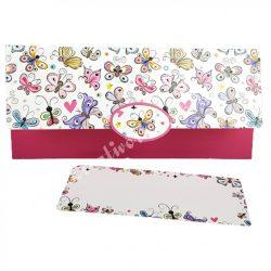 Pénzátadó boríték, ajándékkísérő kártyával, pillangók, 21,5x10 cm