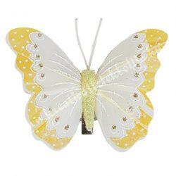 Toll pillangó, fém csipesszel, citromsárga, 8x6 cm