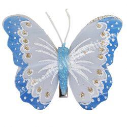 Toll pillangó, fém csipesszel, kék, 8x6 cm