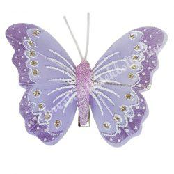 Toll pillangó, fém csipesszel, lila, 8x6 cm