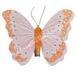 Toll pillangó, fém csipesszel, narancssárga, 8x6 cm