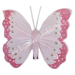 Toll pillangó, fém csipesszel, rózsaszín, 8x6 cm