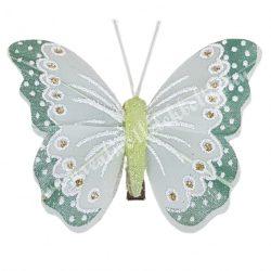 Toll pillangó, fém csipesszel, zöld, 8x6 cm