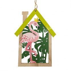 Akasztós dísz, fa házikó flamingóval, 12x16,5 cm