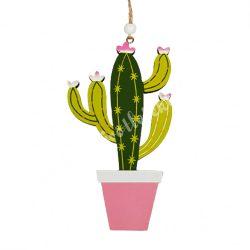 Akasztós dísz, fa kaktusz, 8,5x15 cm