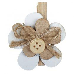 Facsipeszes virág, fehér-natúr,, 4x4,5 cm