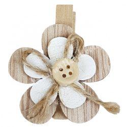 Facsipeszes virág, natúr-fehér,, 4x4,5 cm