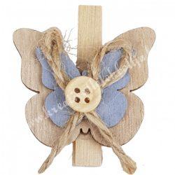 Facsipeszes pillangó, natúr-szürke, 4x4,5 cm