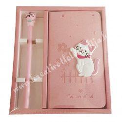 Cicás notesz, tollal, rózsaszín