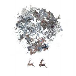 Karácsonyi flitter, ezüst szarvas, kb. 15 gr/csomag